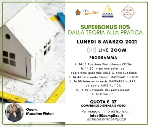 """Superbonus 110%: lunedì 8 marzo un webinar per """"unire la teoria alla pratica"""""""