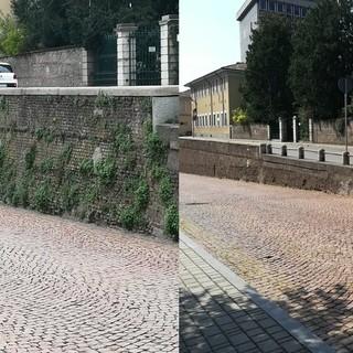 Il muraglione della Costalunga a Castellanza, prima e dopo l'intervento