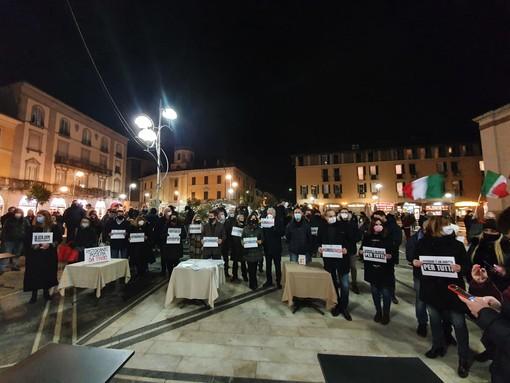 La manifestazione dello scorso gennaio in piazza a Busto