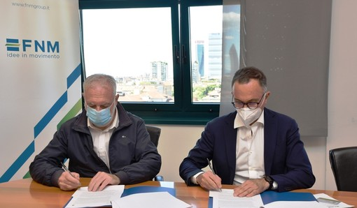 Il presidente di Fnm Andrea Gibelli e l'ad e direttore generale di Sea Armando Brunini