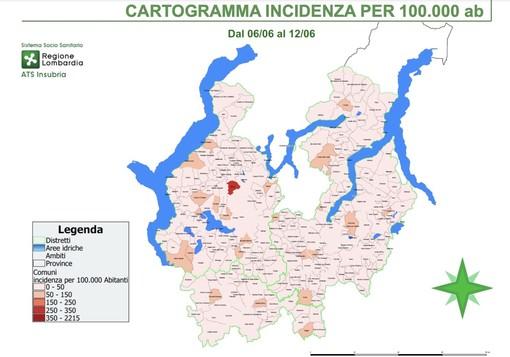 La mappa dell'incidenza ogni centomila abitanti nel territorio di Ats Insubria
