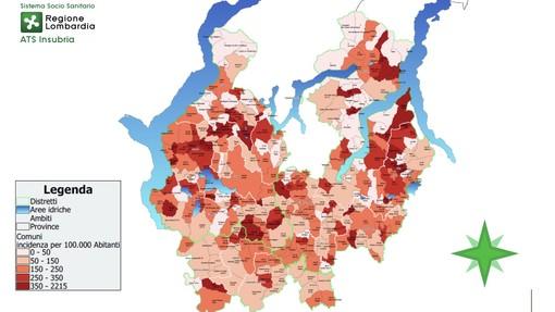 La mappa del Coronavirus nel Varesotto: nel Lavenese l'incidenza più alta, in Valceresio quella minore. Varese e Busto in aumento