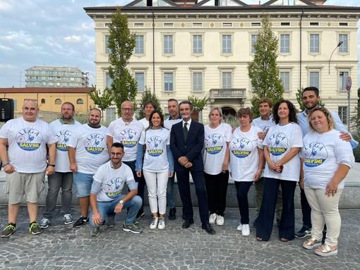 La Lega in piazza Vittorio Emanuele lo scorso venerdì con il presidente della Regione Fontana