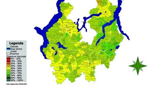La mappa della copertura vaccinale del territorio di Ats Insubria: le aree verde sono quelle con la percentuale maggiore