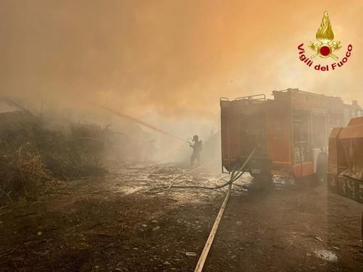 FOTO. Sesto Calende, incendio all'alba: a fuoco azienda di scarti vegetali. Monitorate alcune abitazioni per il fumo