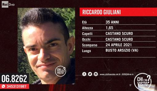 """Busto, a """"Chi l'ha visto?"""" l'appello per trovare Riccardo Giuliani"""