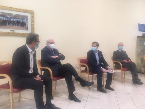 Il presidente Monti (a destra) poi il presidente della Provvidenza Mazzucchelli, il vice Belloni e il consigliere comunale Albani